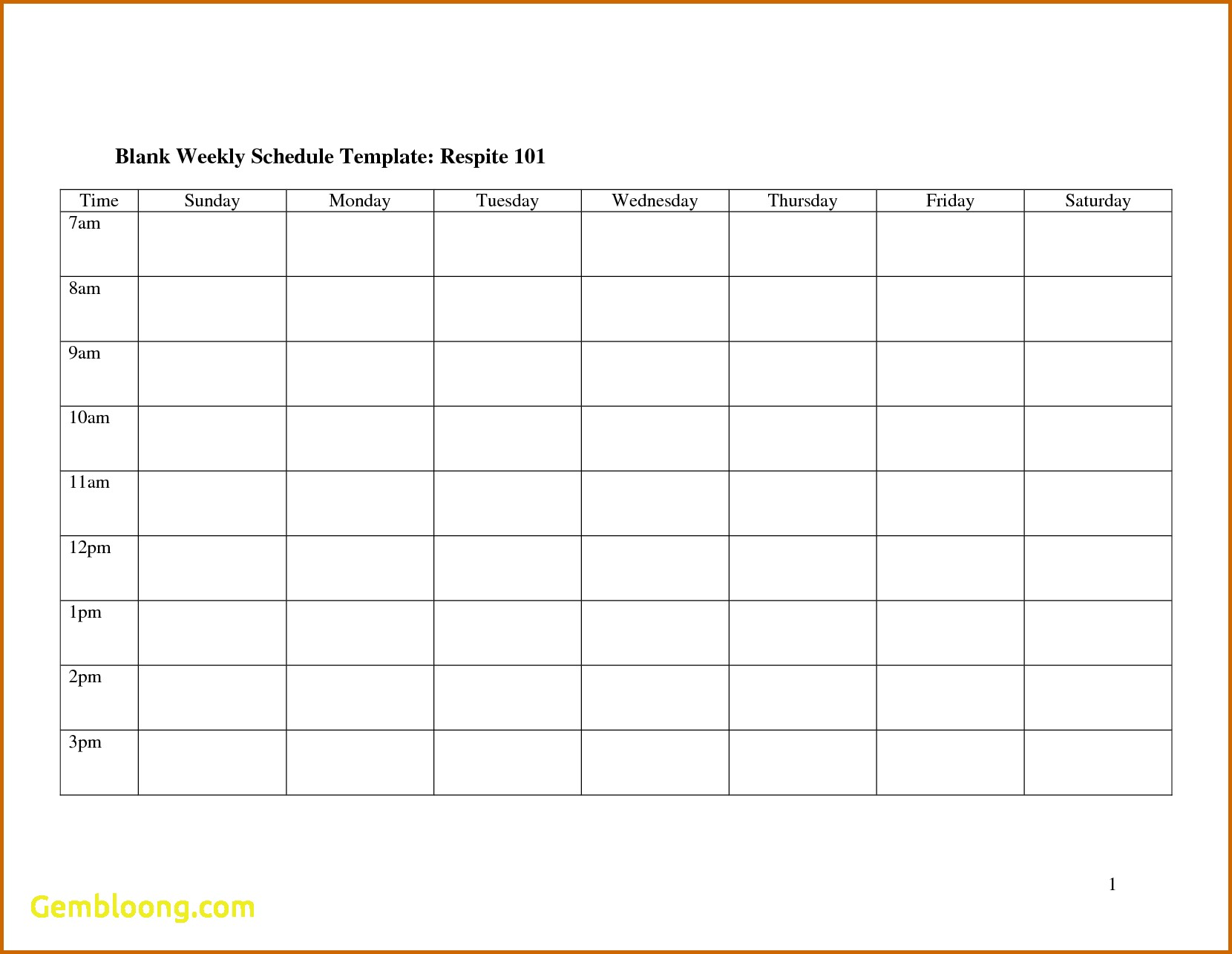 Blank Monthly Work Schedule Template 7 – el parga