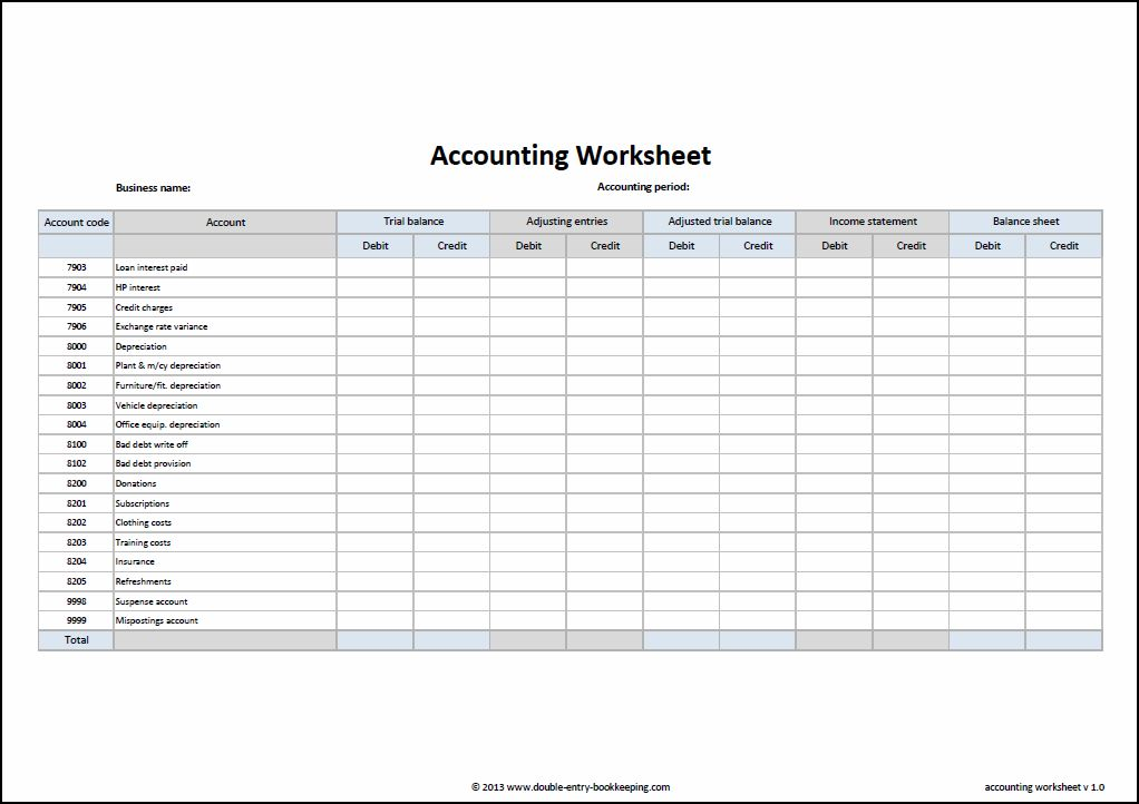 free accounting worksheets   Tier.brianhenry.co