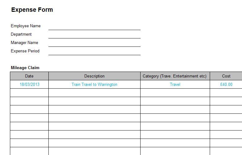 Mileage Expense Form Template Free | Business Expense Form Charlotte Clergy Coalition