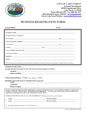 Business Registration Form | Business form templates