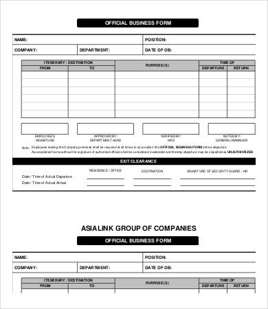 Business Form Template 9+ Free PDF Documents Download | Free