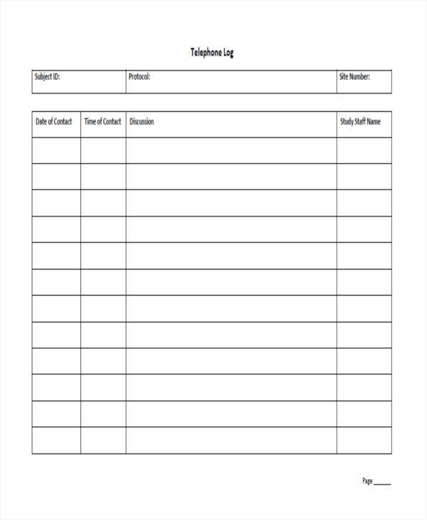 40+ Printable Call Log Templates in Microsoft Word and Excel