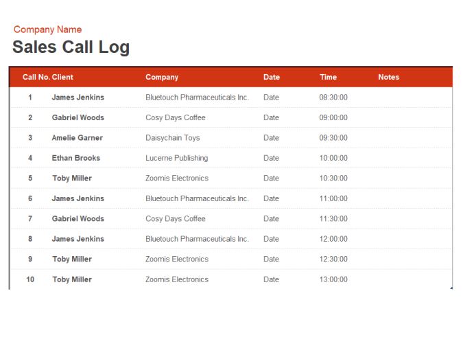 15+ Call Log Templates   DOC, PDF, Excel | Free & Premium Templates