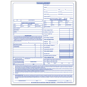 Car Purchase Agreements   3 Part Carbonless | Auto Dealer Forms