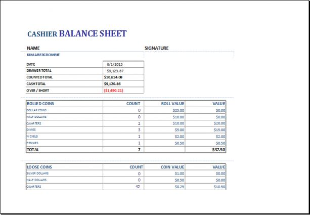 Excel Templates (good Cash Drawer Balance Sheet #5) | L marketing