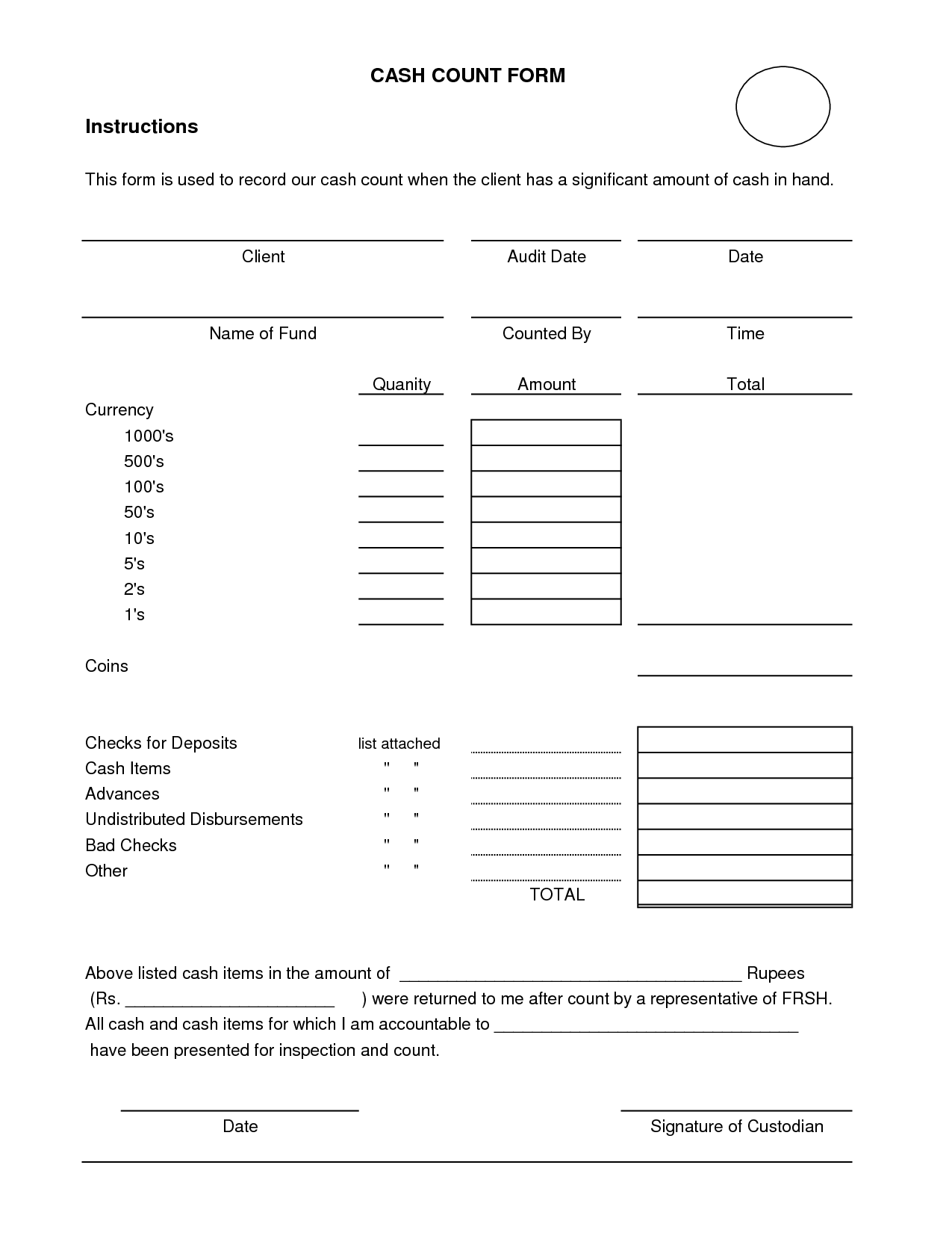Cash Count Sheet Template   Fill Online, Printable, Fillable
