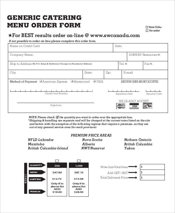 catering order form template 14 catering order forms free samples