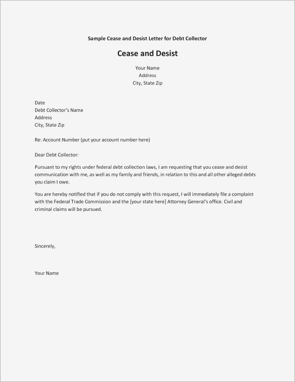 cease and desist letter harassment Forms and Templates   Fillable
