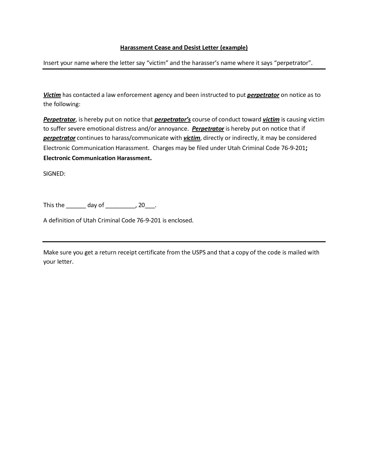 Cease and desist letter harassment template idea throughout
