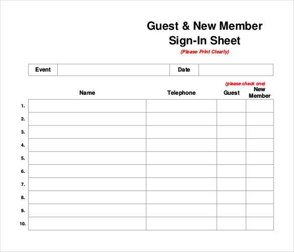 Printable Sign In Sheet | Visitor, Class, and Meeting Sign In Sheets