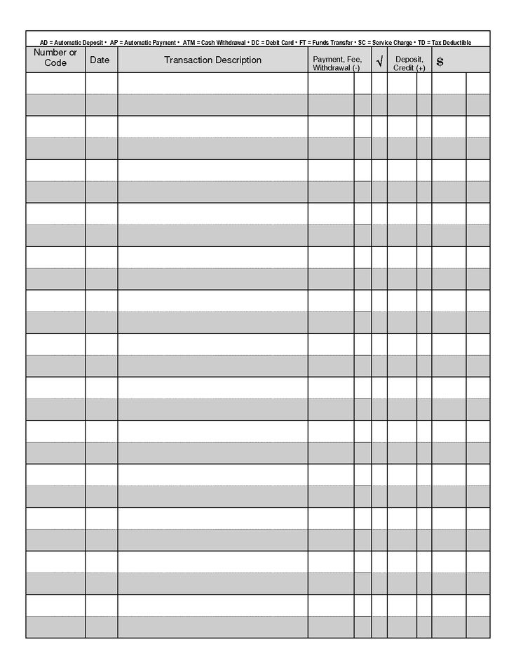 Free Excel Checkbook Register   Printable