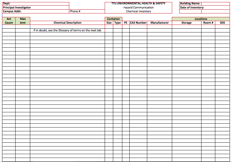 Chemical Inventory List Template | charlotte clergy coalition