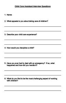 Child Care Assistant Interview Questions printable | Information