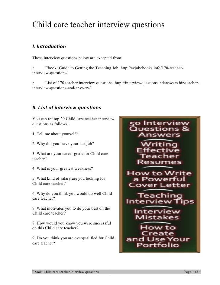 105 childcare interview questions and answers
