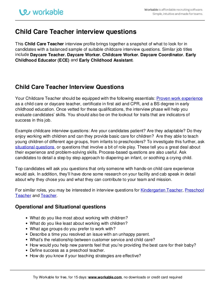 child care teacher interview questions hiring workable
