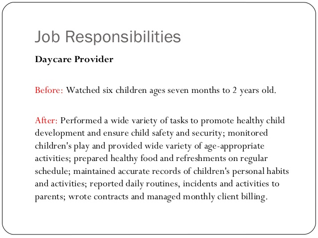 child care provider job description