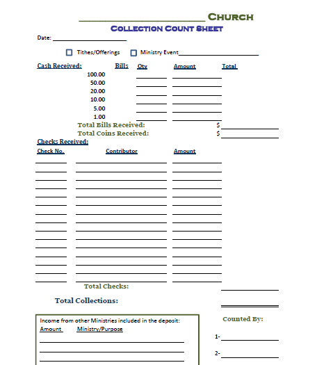 Collection Count Sheet   Fill Online, Printable, Fillable, Blank