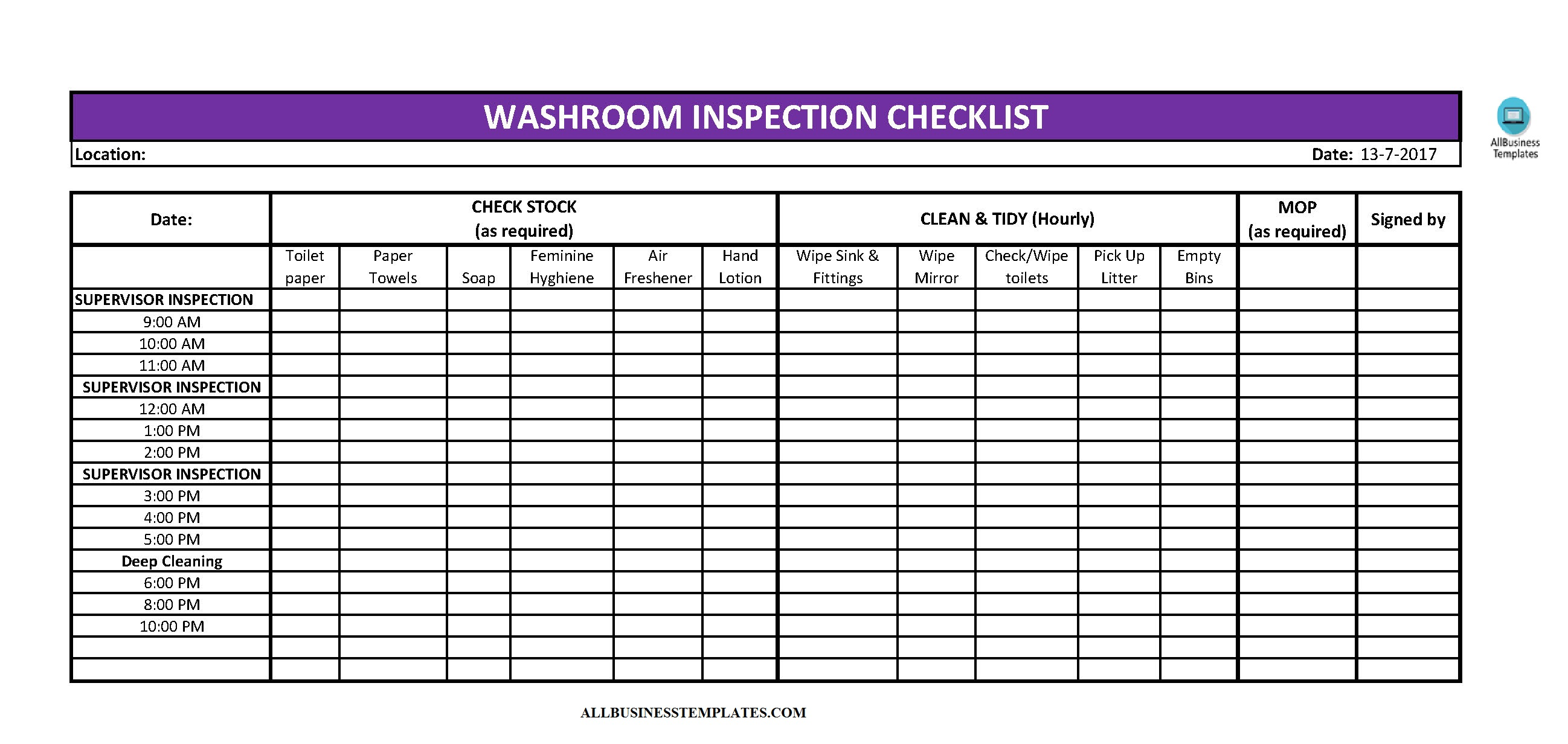 Toilet Cleaning Checklist Excel | Templates at
