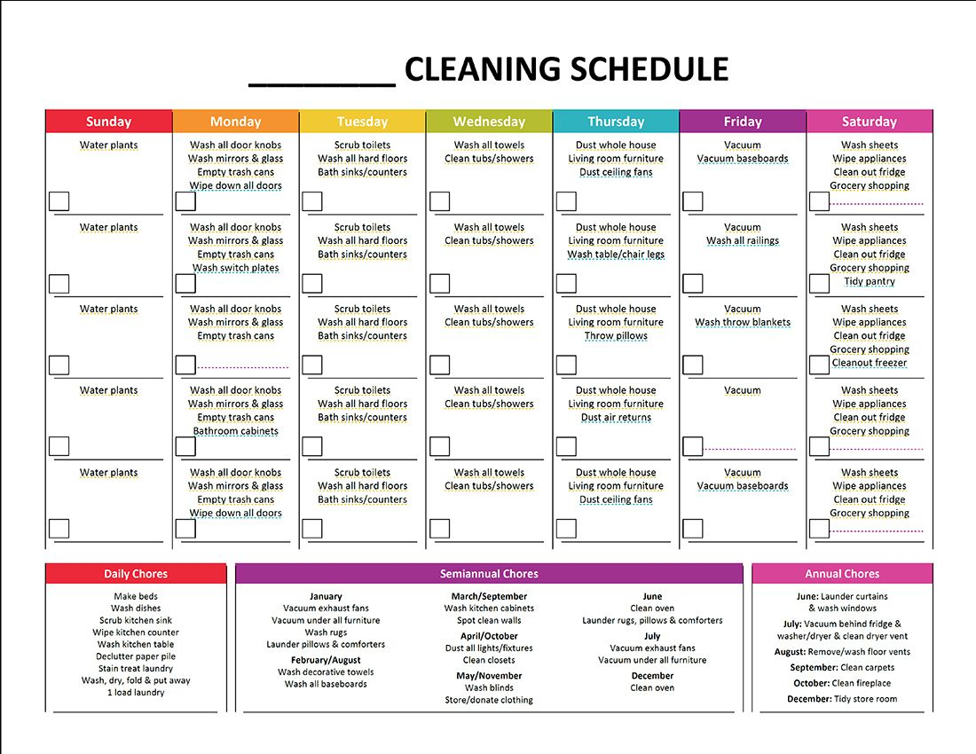 Cleaning Schedule Template Charlotte Clergy Coalition