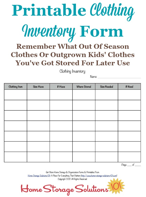 Printable Clothing Inventory Form