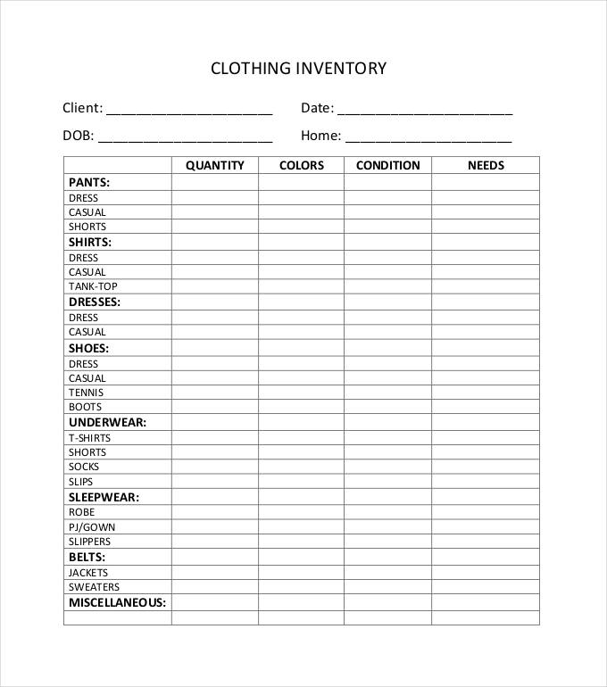 clothing inventory list template   Gecce.tackletarts.co