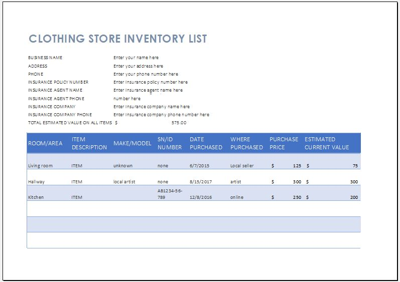 Clothing Store Inventory List Template | Word & Excel Templates