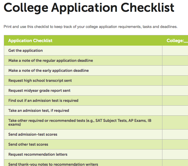 College Application Checklist Template | charlotte clergy coalition