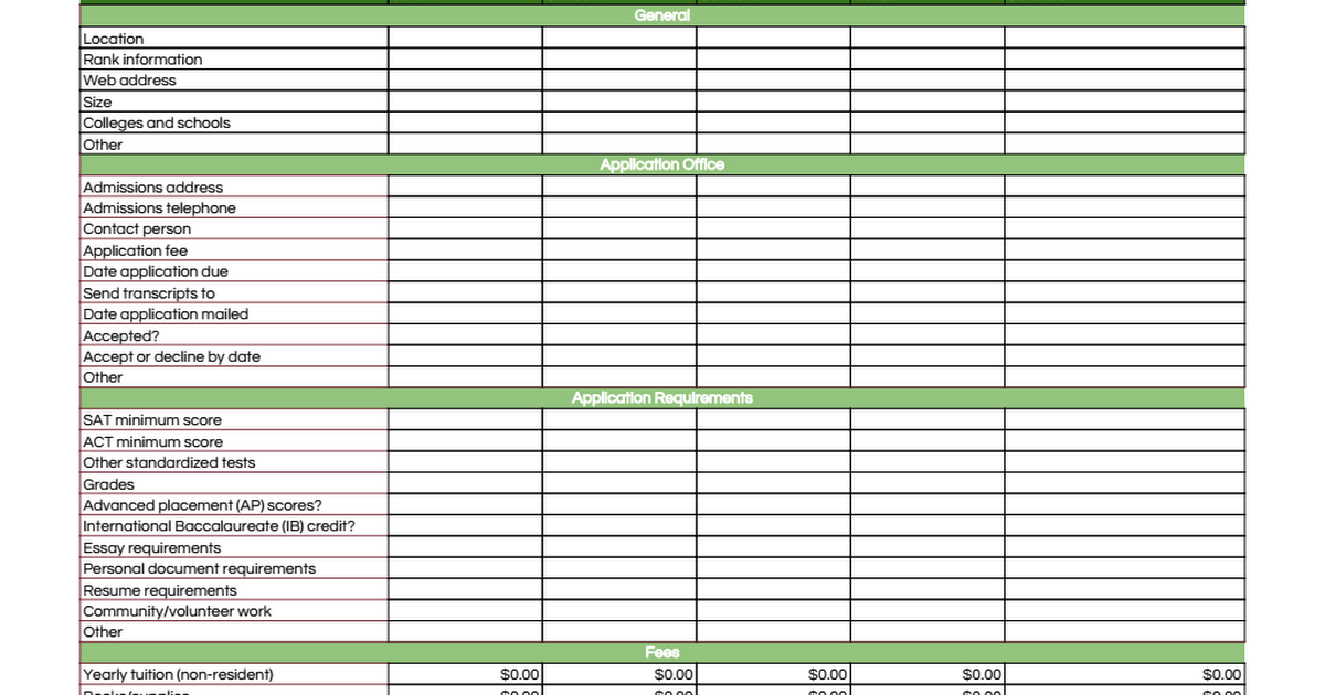College Application Checklist Template   Google Sheets