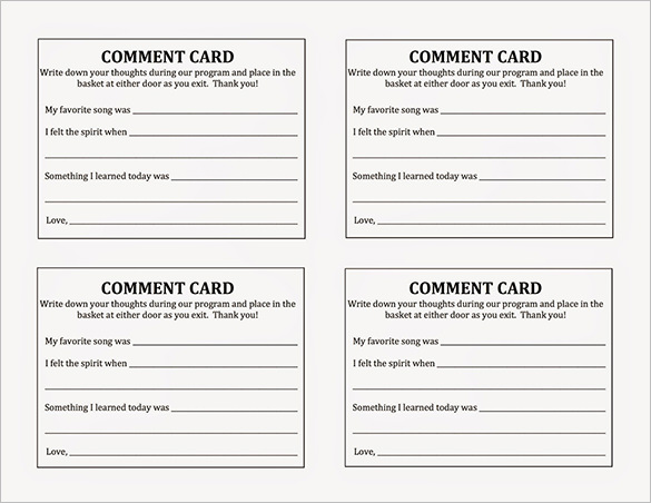 Comment Card Template Microsoft Toretoco Suggestion