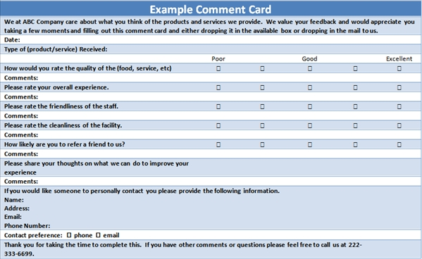 customer comment card template   Gecce.tackletarts.co