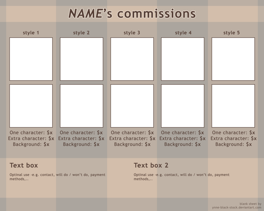Blank Commission Sheet (psd template) by ynne black stock on