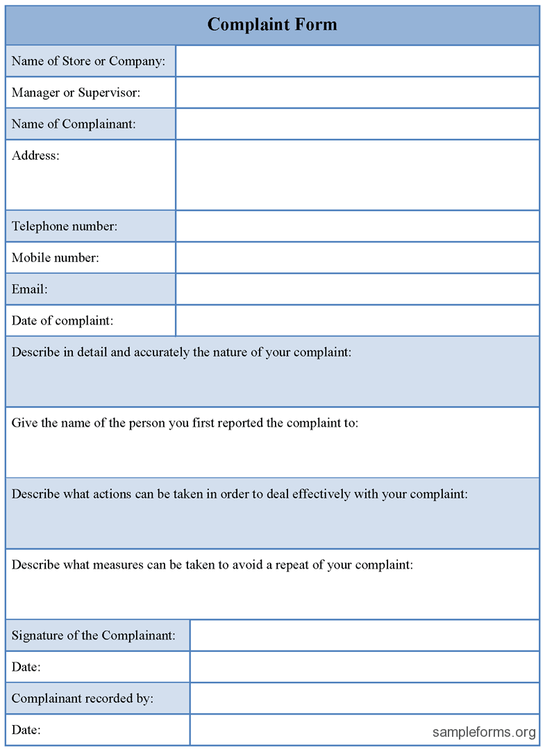 complaint form template 23 hr complaint forms free sample example