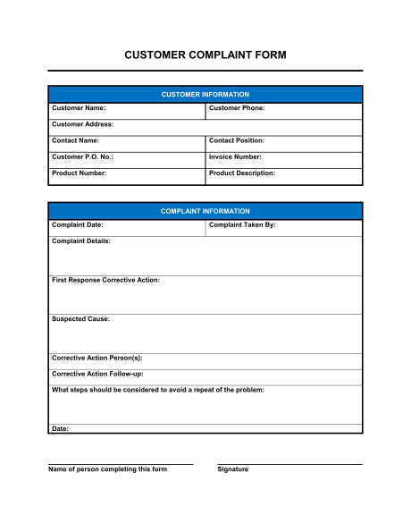 Customer Complaint Form   Template & Sample Form | Biztree.com