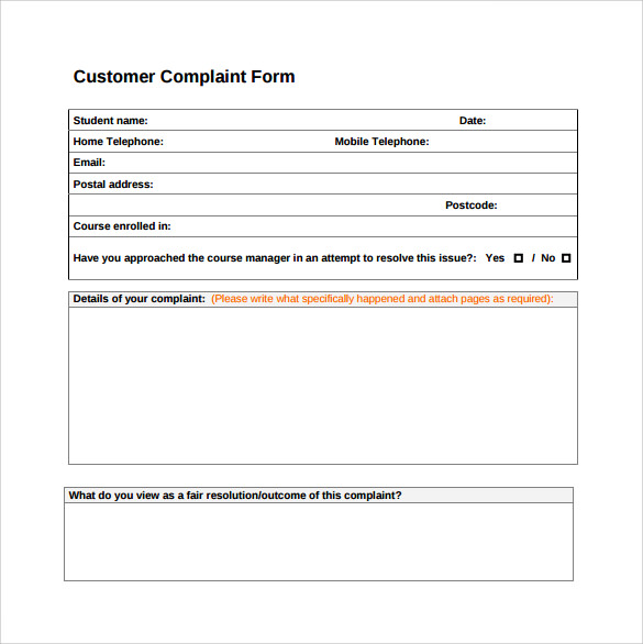 Customer Complaint Form | Microsoft Templates | Pinterest