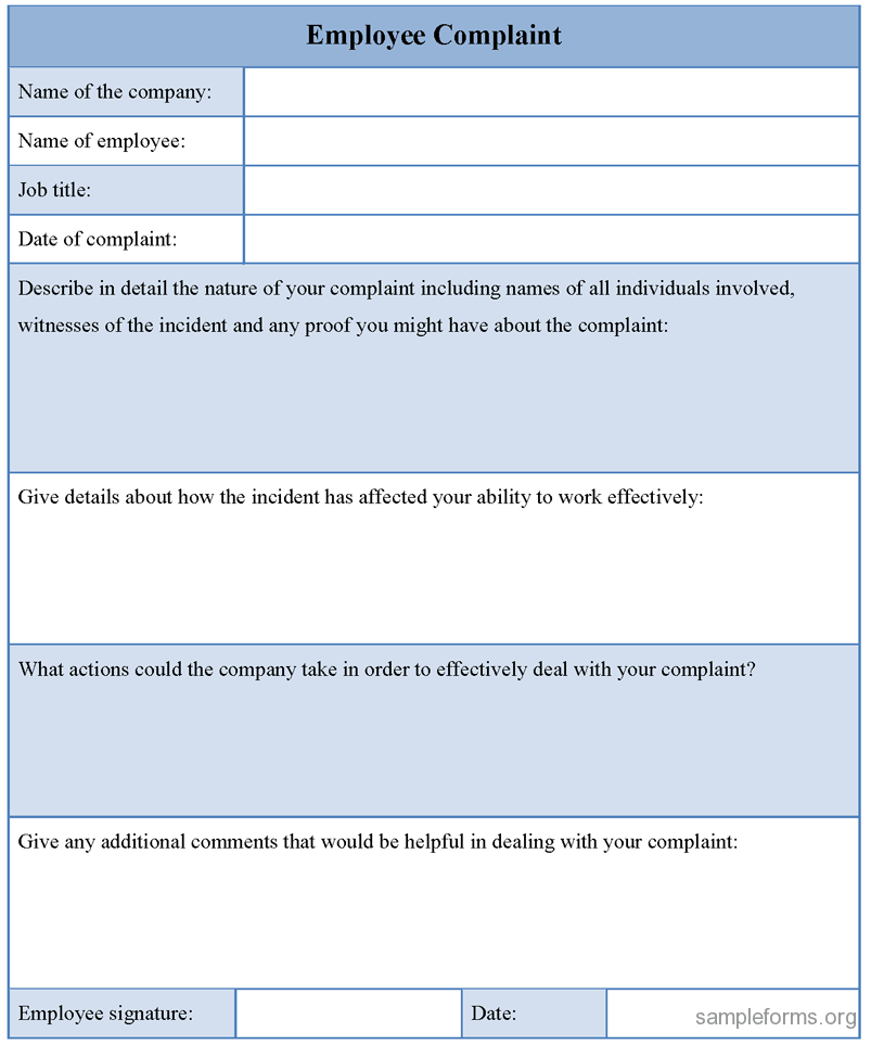 Customer Complaint Form Template