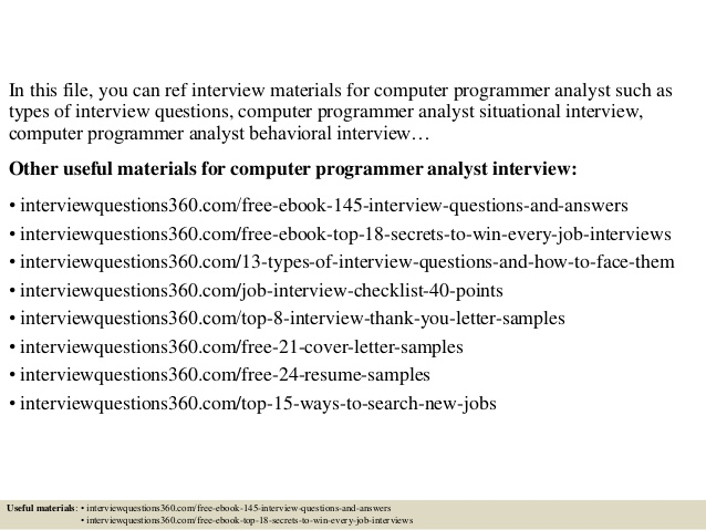 Top 10 computer programmer analyst interview questions and answers