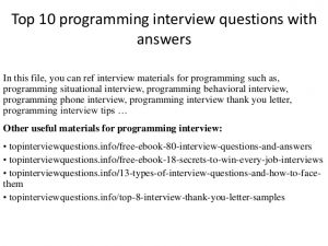 Computer Programmer Interview Questions | charlotte clergy