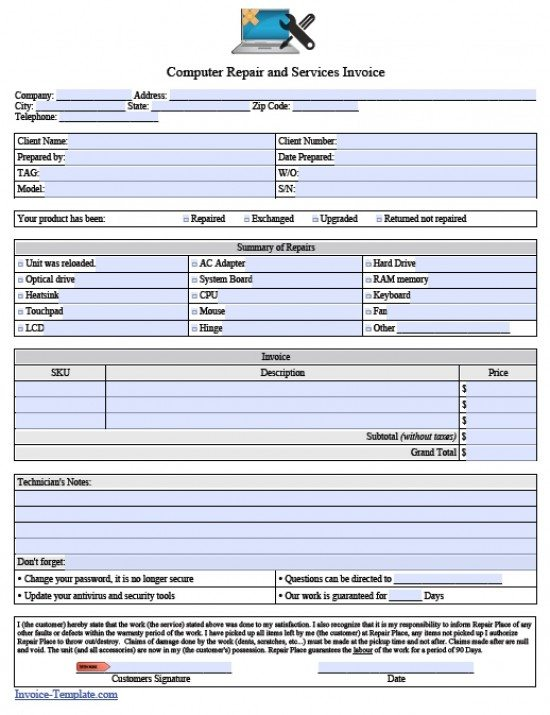 Free Computer Repair Service Invoice Template | Excel | PDF | Word