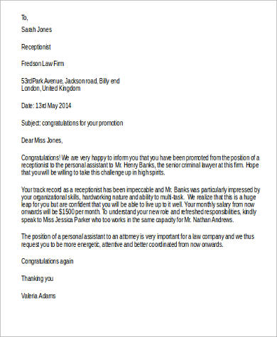 Congratulations On Your Promotion Letter   LiveCareer