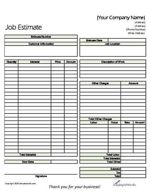 Free Print Contractor Proposal Forms | Construction Proposal Form