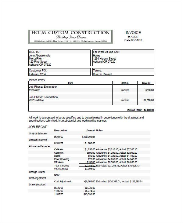 Construction Invoice Example | charlotte clergy coalition