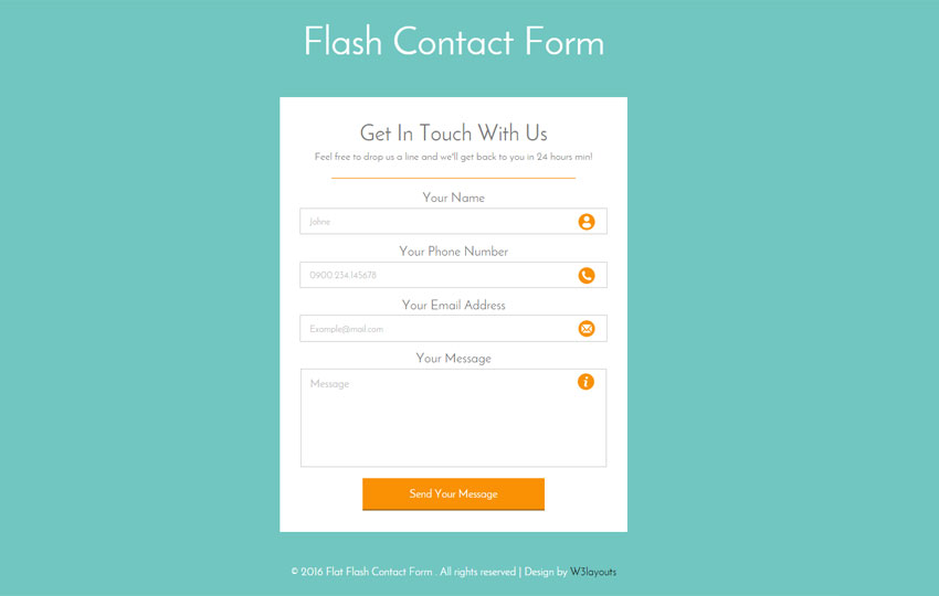 Flash Contact Form Responsive Widget Template   w3layouts.com