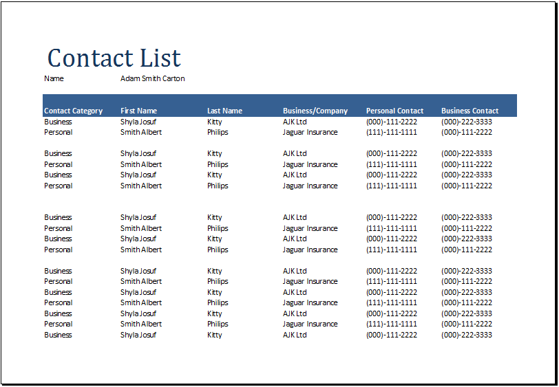 contact list template excel   Kleo.beachfix.co