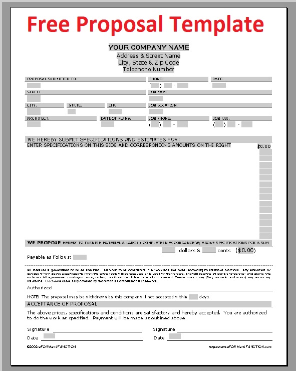 Free Print Contractor Proposal Forms | the free printable