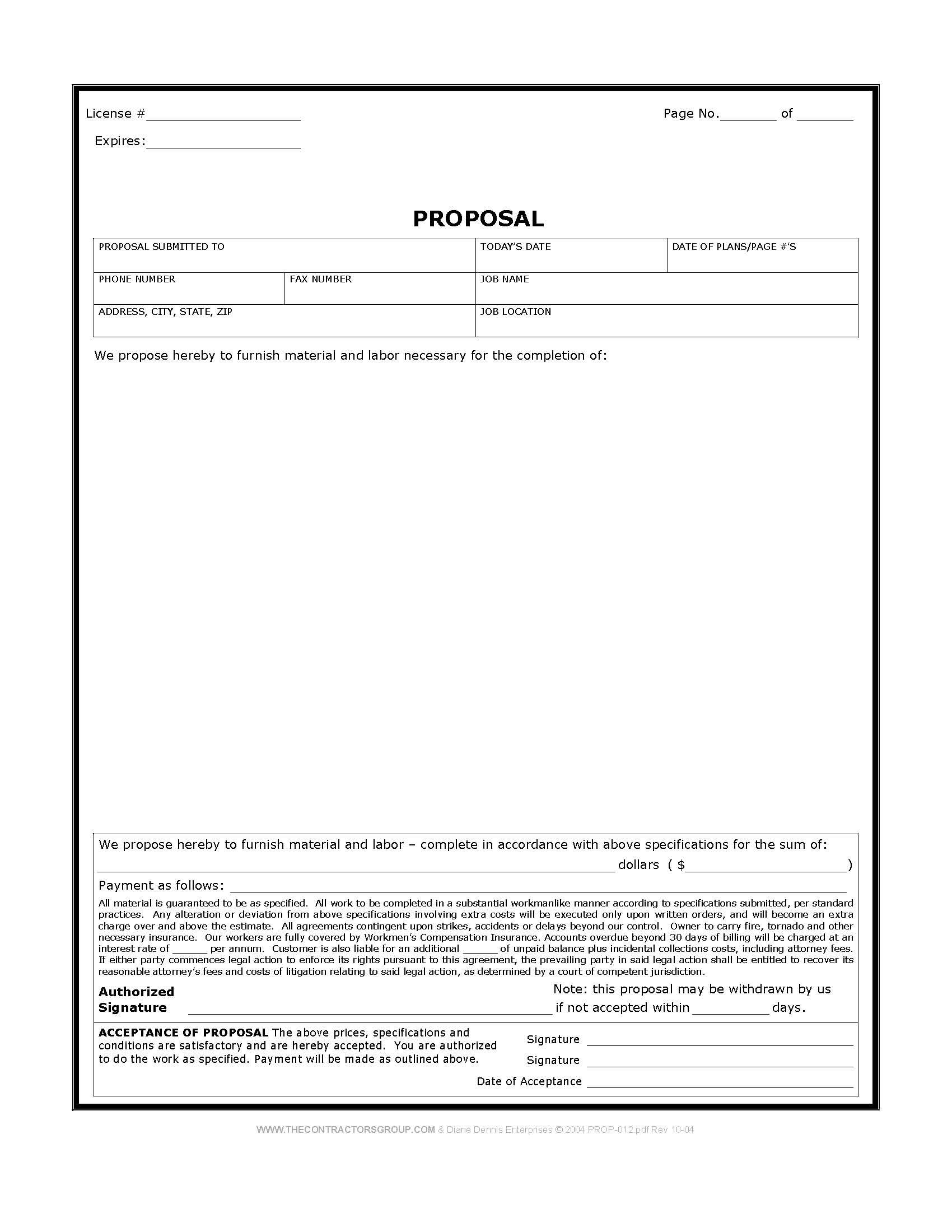 Proposal Template   Fill Online, Printable, Fillable, Blank