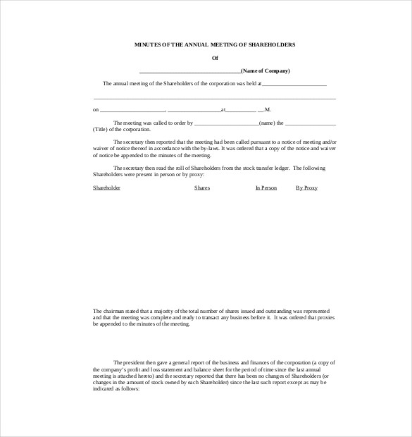 Corporate Minutes Template Word | charlotte clergy coalition