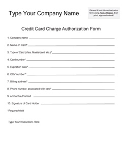 Credit Card Authorization Form   Fill Online, Printable, Fillable