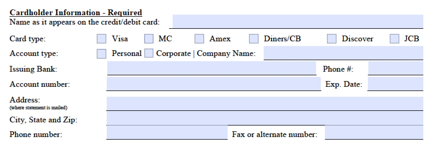 Credit Card Authorization Form Pdf Fillable | charlotte clergy coalition