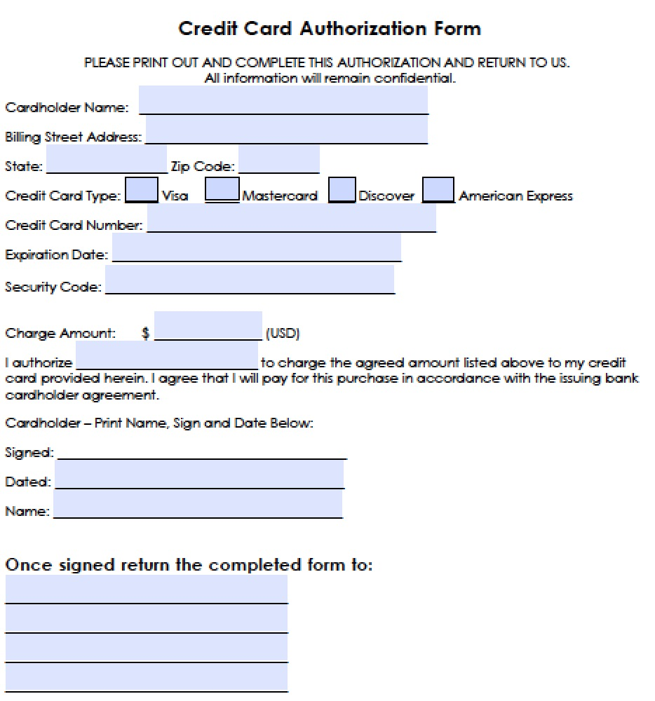 Download Recurring Credit Card Authorization Form | PDF | Word