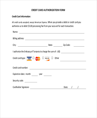 Credit Card Authorization Form Template 10+ Free Sample, Example